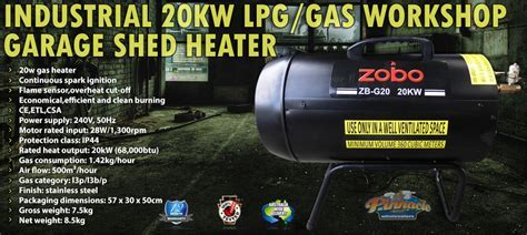 INDUSTRIAL 20KW LPG/GAS WORKSHOP GARAGE SHED HEATER