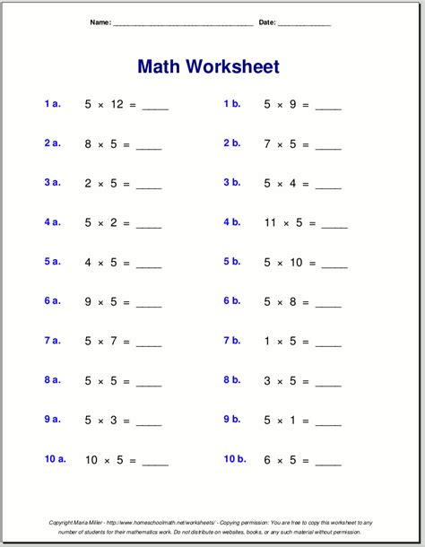 multiplication worksheets for grade 3 free math