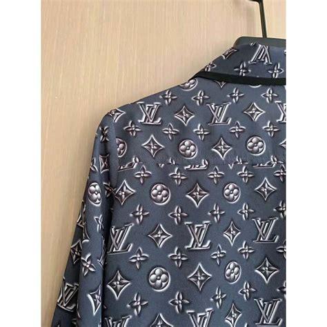 louis vuitton lv women monogram shadow shirt   silk grey lulux