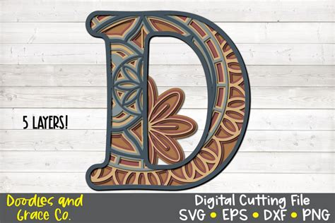 You can add more dimension to the image and get a 3d effect by leaving some more design resources by cutsunsvg. Letter D 3D Layered Alphabet Mandala SVG - EPS - PNG - DXF ...