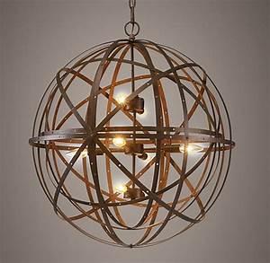 Orbital sphere large pendant rust
