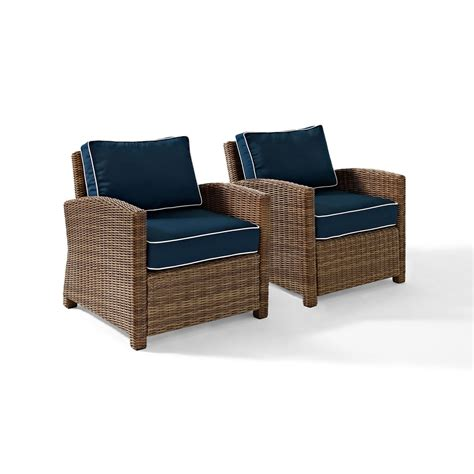 bradenton 2 outdoor wicker seating set with navy