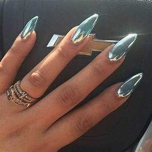 chrome pale blue almond shaped nails chrome nail