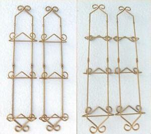plate vertical wall rack wrought iron gold scroll metal display holder stand ebay