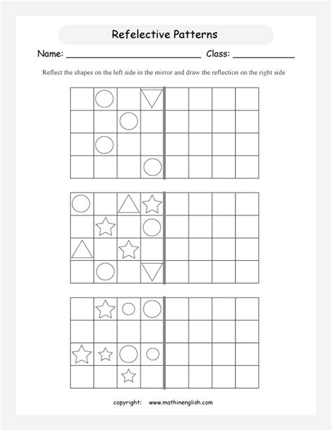 Reflection Shapes Worksheets  Reflection Symmetry Worksheet No 1transformations 3 Pages