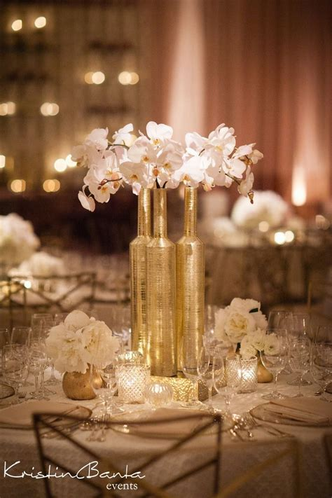 white and gold centerpieces pinterest