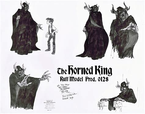 Concept art and early versions of the Horned King, from ...