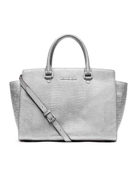 398 michael michael kors large selma lizard embossed
