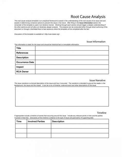 It Rca Template by Root Cause Analysis Forms Template Business