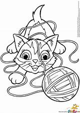 Yarn Coloring Cat Pages Kitten Playing Ball Kitty Clipart Electronic Colorings Amazing Getcolorings Drums Getdrawings Printable Books Template sketch template