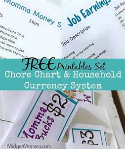 Chore Chart Household Currency System Free Printable Set
