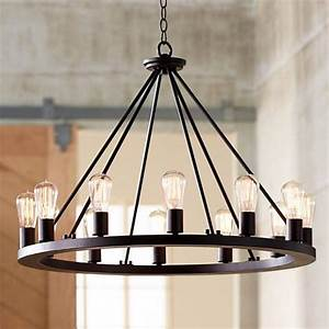 Lacey 28quot Wide Round Black LED Chandelier W7307 Lamps
