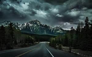 Wallpaper, Landscape, Forest, Mountains, Dark, Nature, Snow, Clouds, Snowy, Peak, Hills, Morning