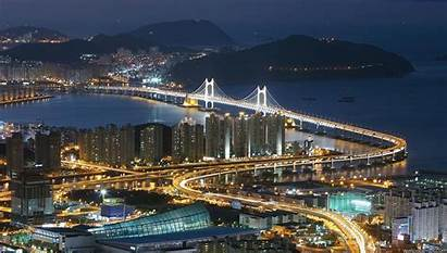 Korea Busan South Night Wallpapers Bridge Desktop
