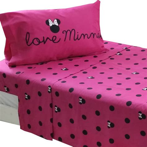 minnie mouse twin sheet set disney glamour girl bedding