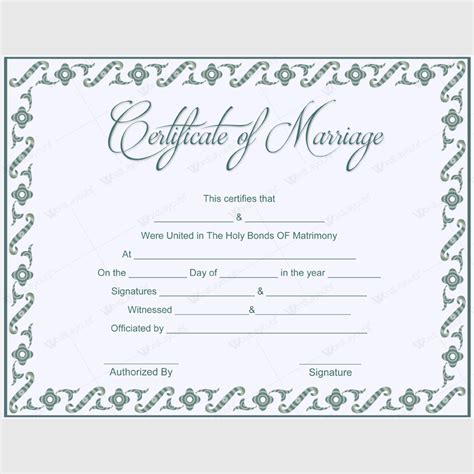 adorable blank marriage certificate designs  word