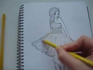 How to draw a girl in a yellow dress - YouTube