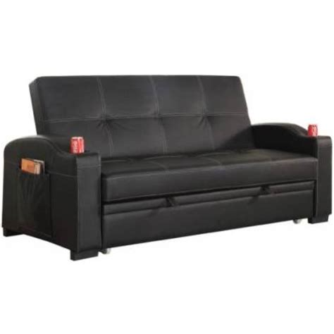 black leather sofa bed with cup holder maple pu leather futon sofa bed with cup holders buy