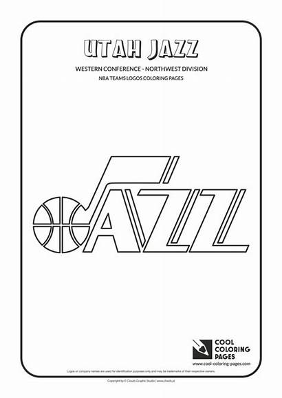 Coloring Nba Pages Jazz Basketball Utah Logos