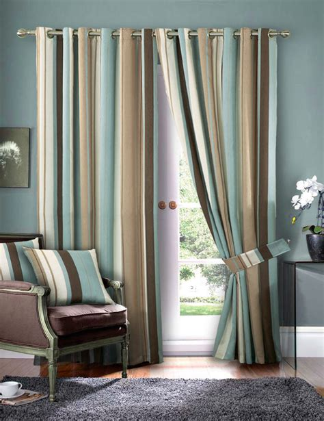 striped faux silk curtains duck egg blue eyelet