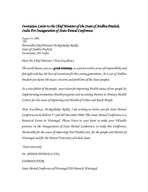Invitation Letter to the chief minister of the state of