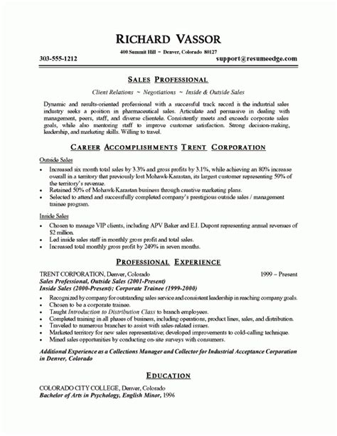 Resume Professional Summary by Cell Phone Sales Resume Sales Resume Sle