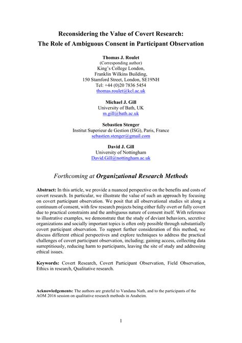 reconsidering    covert research  role