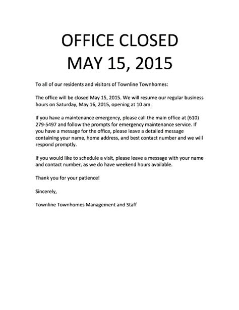 office closed for message template townline townhomes apartments whitpain pa