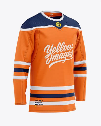 Women's cycling thermal jersey ls mockup (half side view). Mens Hockey Jersey Front Half-Side View Jersey Mockup PSD ...