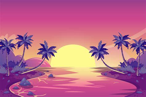 tropical summer sunset vector cartoon island landscape