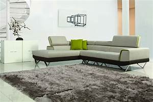Choosing between leather and fabric modern sofas la for Light green sectional sofa