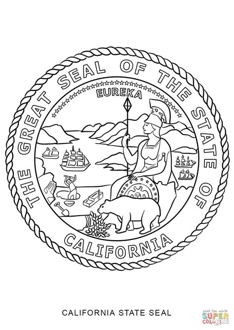 California State Symbols Coloring Pages California State Seal Coloring Page Free Printable