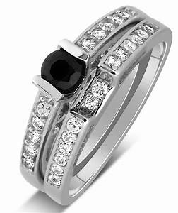 1 carat unique black and white round diamond wedding ring With black and white diamond wedding ring sets