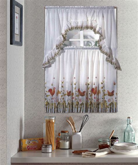 rooster complete tier swag set kitchen curtain set
