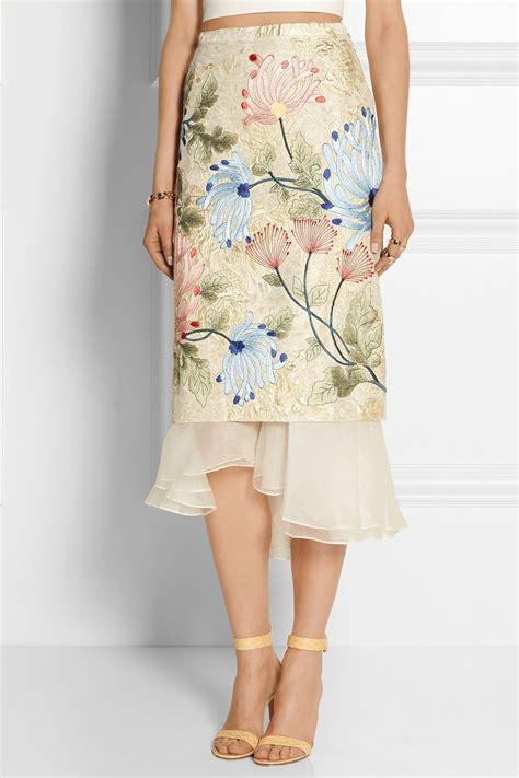 biyan mirea embroidered brocade  silk organza midi