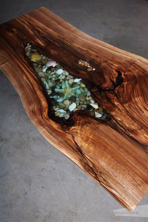 walnut  edge epoxy shell coffee table geometric base