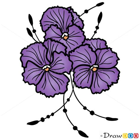how to draw a purple flower how to draw violets flowers