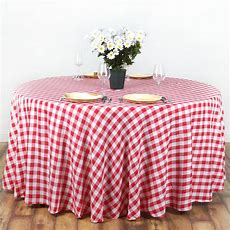 """70"""" Checkered Gingham Tablecloth Polyester Round Linens"""