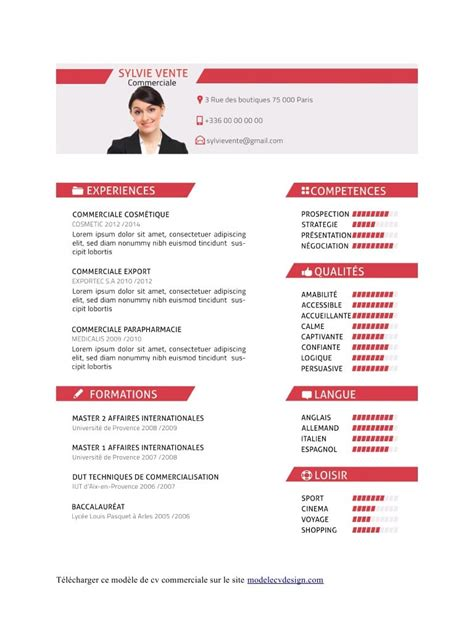 Modele Cv Commercial Word by Cv Commerciale Fichier Pdf