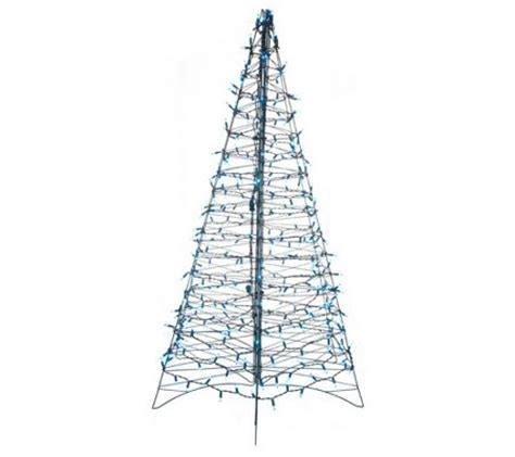 pre lit 6 fold flat outdoor christmas tree by lori greiner h203498 qvc com