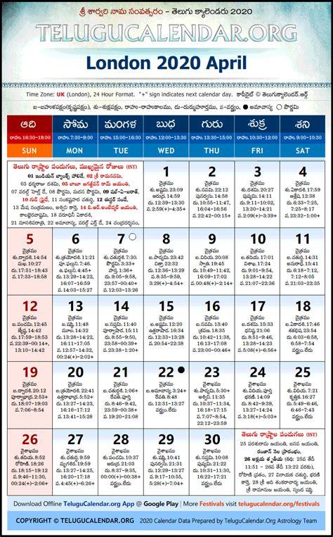 london telugu calendars  april festivals