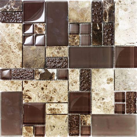 sle brown pattern imperial marble stone glass mosaic tile kitchen backsplash ebay