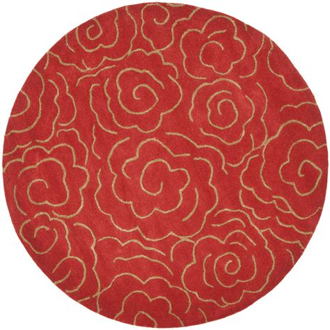 hand tufted safavieh soho red wool area rug 8 39 round ebay