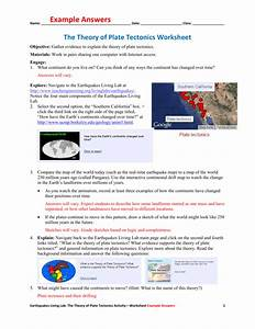 Plate Tectonics Worksheets Answers
