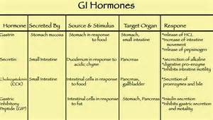 Gastrointestinal Hormones Chart