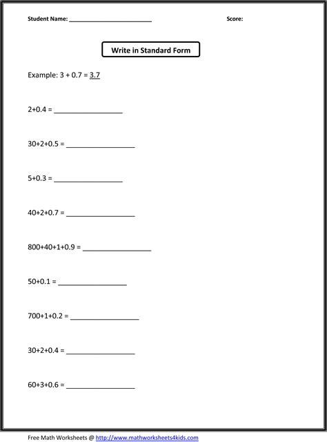standard form of decimals worksheet education