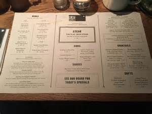 menu picture of flat iron covent garden london