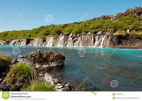 Turquoise Stream With Waterfalls Stock Photo Image 51364157