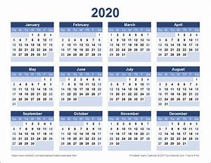 Download A Free Printable 2020 Yearly Calendar From