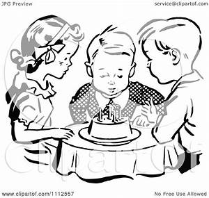 Clipart Retro Black And White Children Watching A Boy Blow ...